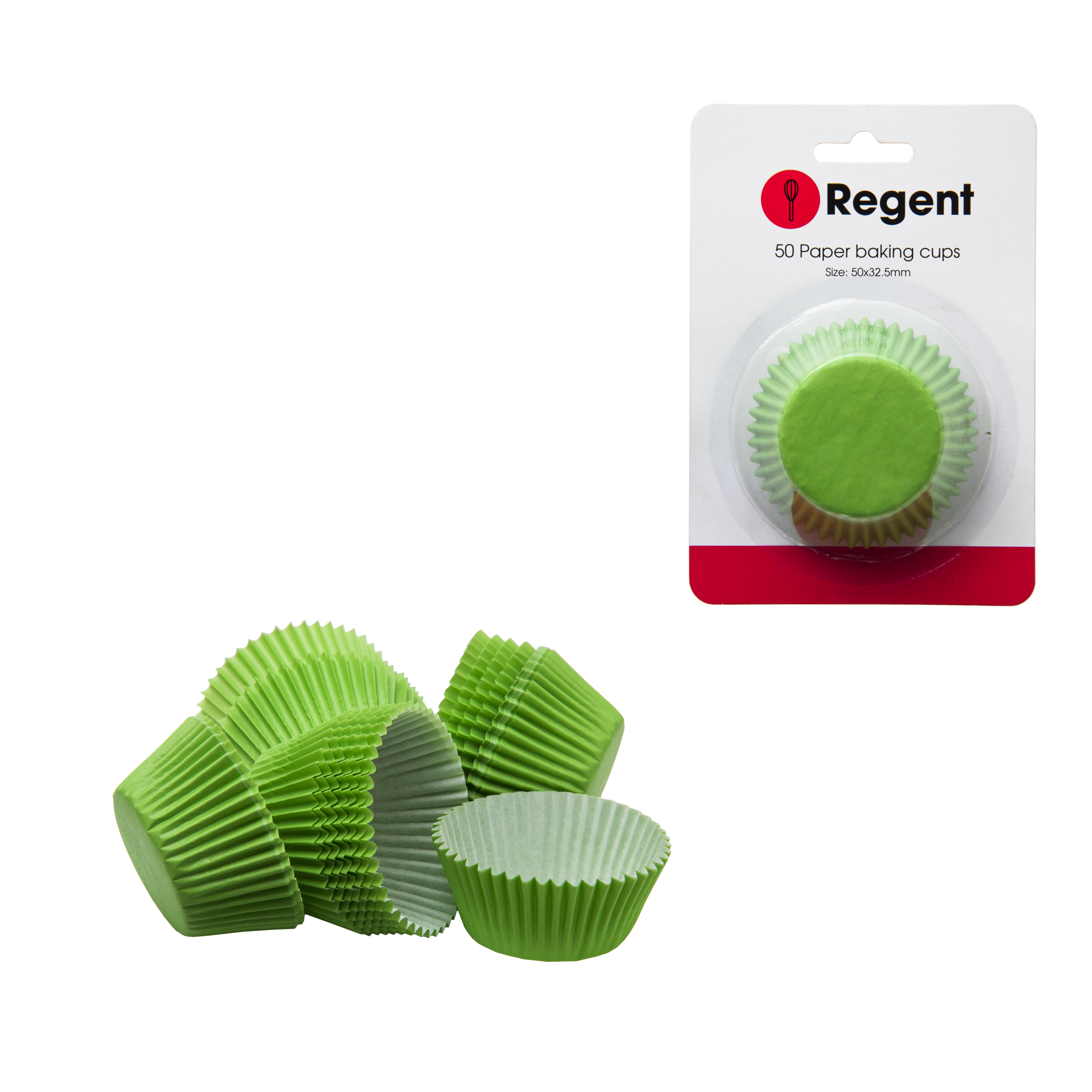 Regent Cake Cups Plain Green 50 Pieces